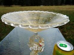 SALVIATI MURANO Gold Flecked VENETIAN GLASS COMPOTE with Gold Shot DRAGON STEM