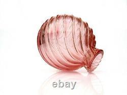 SIGNED RARE! Murano Archimede Seguso Art Glass Pink Gold Organic Lobe Vase