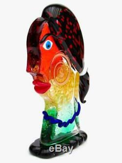 SIGNED World Class Murano Italian Picasso Style Face Sculpture by Mario Badioli