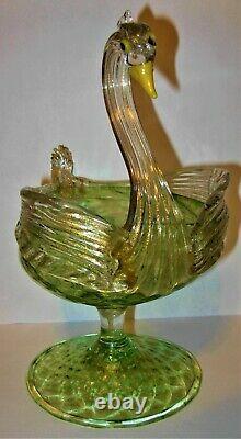 Salviati Murano Circa 1800's Hand Blown Art Glass Figural Swan Pedestal Compote