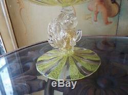 Salviati Murano Dolphin Stem Latticino & Mica Stripe Art Glass Tazza Stand