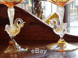 Salviati Venetian Murano Hand Blown Swan Champagne Glasses Martini Sherbet