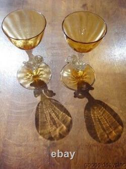 Salviati Venetian Murano Hand Blown Swan Wine Glasses with Gold Flecks