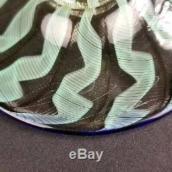 Salviati Venetian Murano Latticino Chuck Savoie Art Glass Compote Goblet Signed