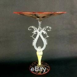 Salviati Venetian Murano Latticino Chuck Savoie Art Glass Tazza Compote Signed