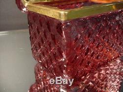 Scarce Vintage Mandruzzato Cranberry Veined Trinket Casket Box Murano Eames Era