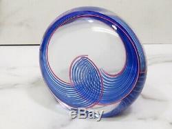 Seguso AV Oggetti Arte Vetro Murano Italy Art Glass Orb Sculpture Blue Swirl