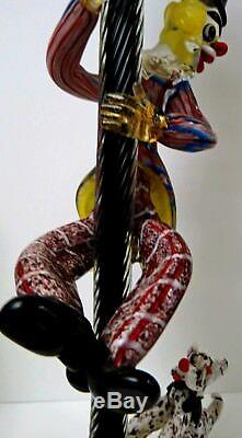 Seguso Murano Art Glass Clown Lamp With Dog At Feet Climbing Up Lamppost 60's