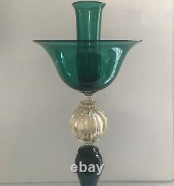 Seguso Murano Emerald Gold Glass Candle Holder Italian Hand Blown Venetian Glass