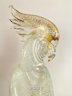 Seguso Murano Glass Cockatoos (Pair) Gold and White