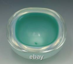 Seguso Murano Glass Opaline Cased Glass Geode Bowl Turquoise And Blue