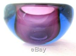 Seguso flat top square geode bowl dish Pink & Blue Sommerso murano art glass 1kg