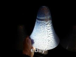 Set 4 Hand Blown Art Glass Pendant Light Shade Blue Silver Murano Style