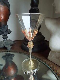 Set 4 Salviati Murano Gold Flake Art Glass Pink Drip Prunts Wine Goblets Stems