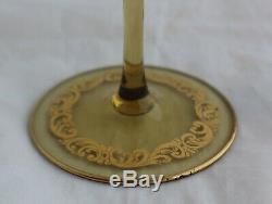 Set 8 Venetian Murano Hand Blown Amber Glass Gold Gilt Wine Goblets Stemware