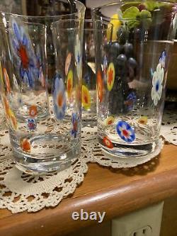 Set of 8 Millefiori Murano Style Hand Blown Art Glass 18oz Drinking Glasses
