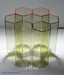 Set of six hexagonal glass Pagliesco tumblers Carlo Scarpa for Venini