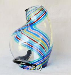 Signd SEGUSO Bisazza Vetro Rainbow-Striped Glass Cat Sculpture 7.5 Murano Italy