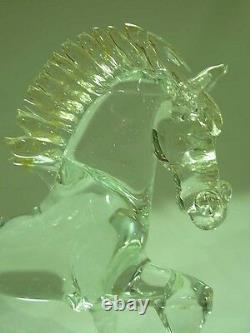 Signed Luciano Mosi Gold Fleck Murano Venetian Art Glass Prancing Horse Figurine