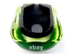 Signed Murano Cenedese Art Glass Space Age UFO Uranium Bowl Antonio Da Ros