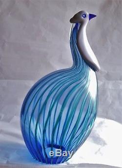 Signed Seguso A. V. Partridge /Guinea-Fowl hand blown Murano glass bird RARE