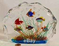 Six Fish Murano Glass Fish Aquarium Glass Sculpture Barbini Cenedese Style