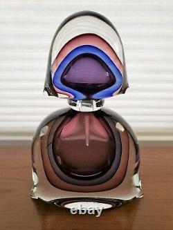 Sommerso Glass Perfume Bottle Signed Luigi Onesto Murano Italy