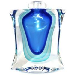 Sommerso Perfume Bottle Signed Luigi Onesto Murano Italy Blue & Aqua 10 1/4 MCM