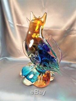 Spectacular Rare Antique Large Murano Rainbow Art Glass Fish Sculpture Statue