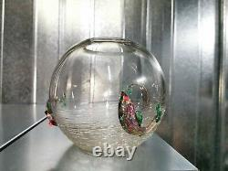 Studio Art Glass Fish Bowl Possibly By David Leppla Hand Blown trailed Murano