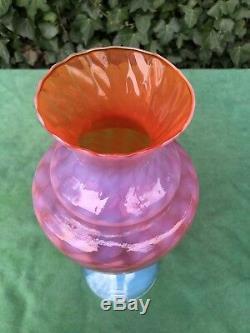 Stunning Empoli Murano Italian Opaline Opalescent Glass Art Vase 1950s