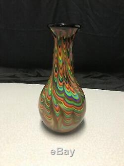 Stunning Murano Hand Blown Glass Vase Rainbow Drip Pattern KG WS17 Beautiful