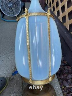 Stunning Murano Opalescent Opaline Glass and Brass Caged Lamp by Marbro Co