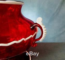 Stunning Rare Hand Blown Salviati / Murano Bianco Rosso Twin Handle Vase