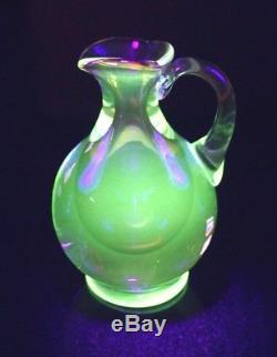 Stunning Uranium Glass Hand Blown Heavy Murano Glass Pitcher