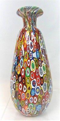 Stunning Vintage MCM Hand-Blown Gambaro & Poggi Millefiori Italian Murano Vase
