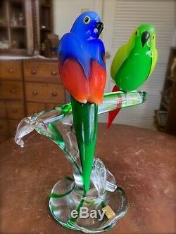 Stunning Zanetti/ Murano Art Glass Tropical Parrot Birds on Branch Signed 12