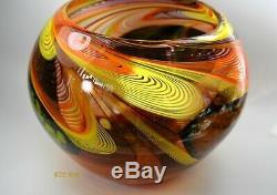 Swirled Murano Glass Vase Mid Century Modern Hand Blown