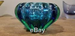 Thick Vintage Murano Glass Geode Bowl by Archimede Seguso