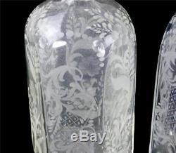Three Vintage Hand Blown Etched Glass Scent Bottles Murano Salir Buccalleti