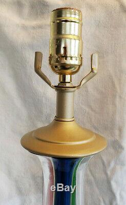 Two Vintage Venini Murano Hand Blown Glass Lamps 35 Tall Teardrop Italian Retro