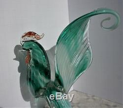 VERY RARE! 10.5 Vintage Antique Hand Blown Glass Rooster Peacock Bird Murano