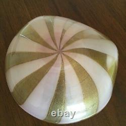 VINTAGE 1940s Huge Murano PINK/GOLD Art Glass Shell Ashtray Candy Dish Bowl 9