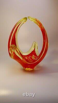 VINTAGE 1960s MURANO Galliano Ferro UV VASELINE ART RED GLASS BOWL CENTERPIECE