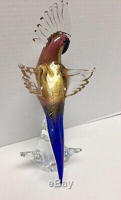 VINTAGE Gold fleck Italian MURANO GLASS 13.5 TALL PARROT COCKATOO BIRD