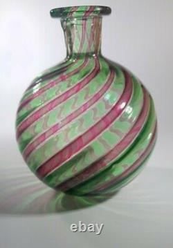 VINTAGE RARE 1960s FRATELLI TOSO MURANO A CANNE ART GLASS BOTTLE VASE