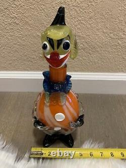 VTG Authentic Murano Hand-Blown Glass Decanter Clown Art