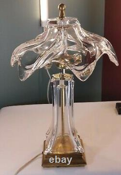 VTG Mid Century Modern Clear Murano Glass, Boudoir Lamp Crystal Hand Blown