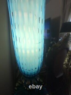 VTG Murano Alfredo Barbini Bullicanti Glass Table Lamp Blue 28