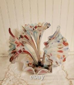 VTG Murano Epergne -End Of Day Glass 4 Horn Multi Colored Gorgeous Hand Blown